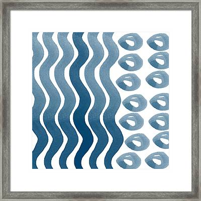 Waves And Pebbles- Abstract Watercolor In Indigo And White Framed Print by Linda Woods