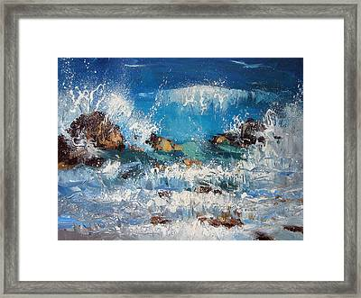 Waves And Stones Framed Print by Dmitry Spiros