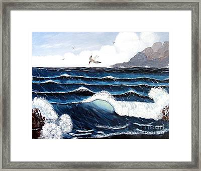 Waves And Tern Framed Print by Barbara Griffin