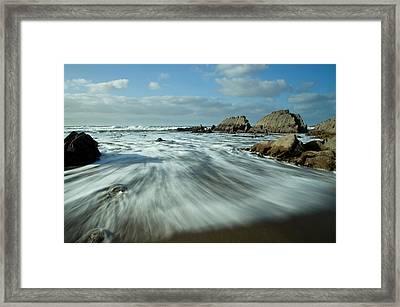 Waves At Blegberry Beach Framed Print by Pete Hemington