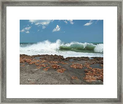 Waves At Work Framed Print by Michelle Wiarda
