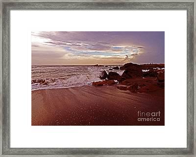 Waves Break Hands Shake Framed Print by Lydia Holly