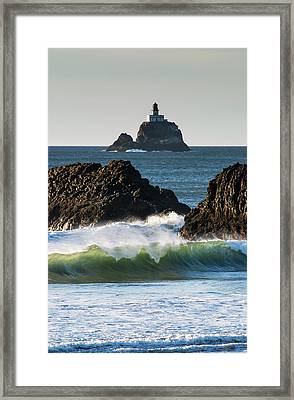 Waves Breaking At Ecola State Park Framed Print by Robert L. Potts