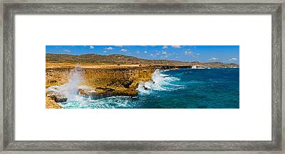 Waves Breaking At The Coast, Aruba Framed Print by Panoramic Images