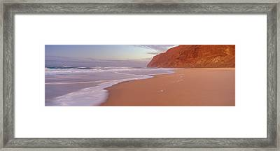 Waves Breaking On Sandy Barking Sands Framed Print by Panoramic Images