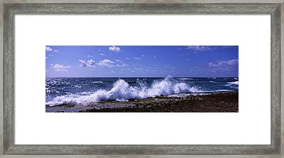 Waves Breaking On The Coast, East End Framed Print