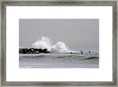 Waves Crash Against Beach 91st Jetty Framed Print by Maureen E Ritter