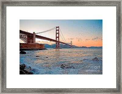 Waves Crash Under The Golden Gate Bridge Framed Print by Mel Ashar