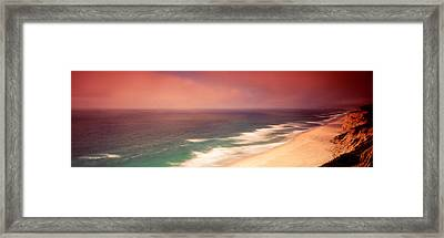 Waves Crashing Into Stormy Coast, San Framed Print by Panoramic Images