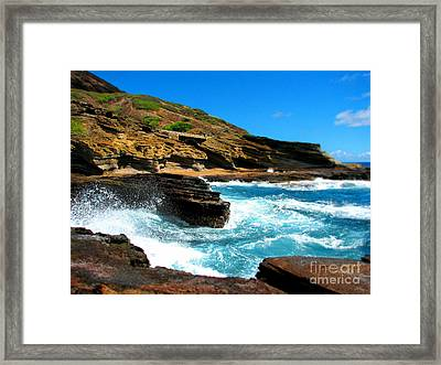 Framed Print featuring the photograph Waves Crashing by Kristine Merc