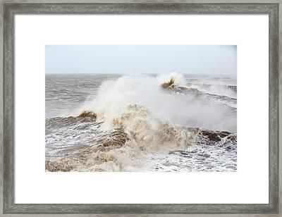 Waves Crashing Off Whitehaven Harbour Framed Print by Ashley Cooper