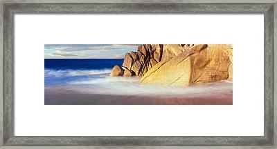 Waves Crashing On Boulders, Lands End Framed Print