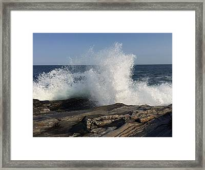 Waves Crashing On Rocky Maine Coast Framed Print