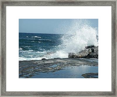 Waves Crashing On The Forbidden Isle Framed Print by Kai Hyde