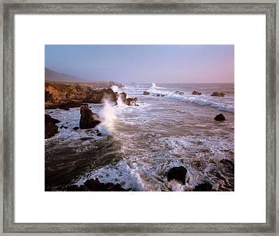 Waves Crashing On The Rugged Big Sur Framed Print by Greg Probst