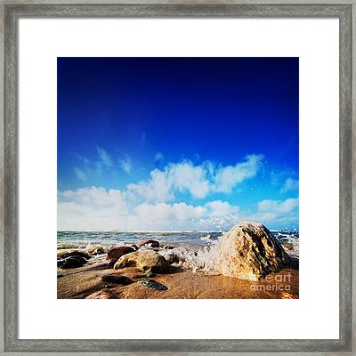 Waves Hiting Rocks On The Sunny Beach Framed Print by Michal Bednarek