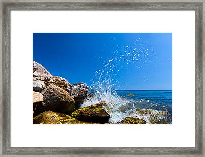 Waves Hitting Rocks On A Tropical Beach Greece Santorini Framed Print