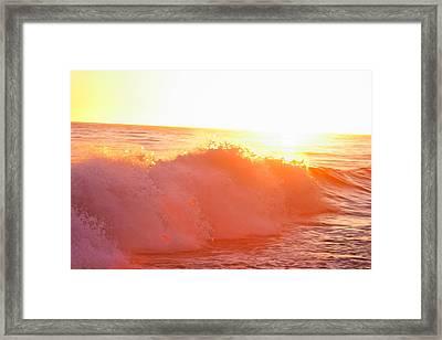 Waves In Sunset Framed Print