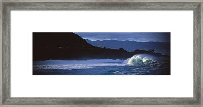 Waves In The Pacific Ocean, Waimea Framed Print by Panoramic Images