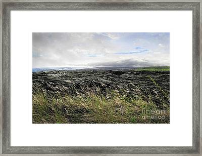 Framed Print featuring the photograph Waves Of Clouds Sea Lava And Grass by Ellen Cotton