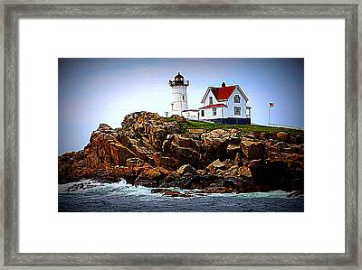 Waves On The Nubble 2 Framed Print