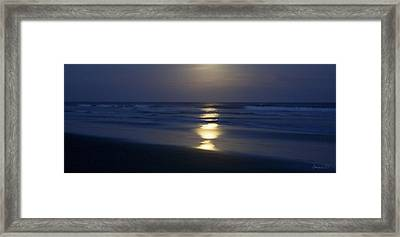 Waves Reflecting Moon Framed Print by Amanda Holmes Tzafrir
