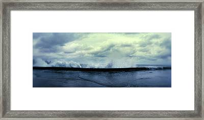 Waves Splashing Into The Malecon Framed Print