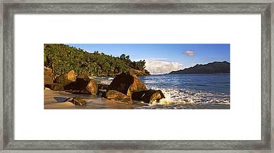 Waves Splashing Onto Rocks On North Framed Print by Panoramic Images