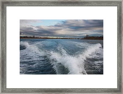 Waves Wake And The Ocean Framed Print by John Telfer