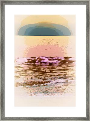 Waves With Sunset Framed Print