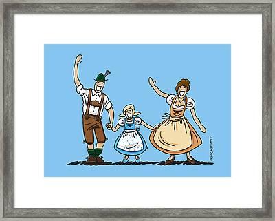 Waving Bavarian Couple With Daughter Framed Print