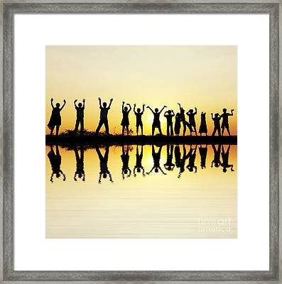 Waving Children Framed Print by Tim Gainey