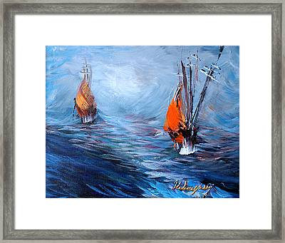 Wavy Sea Framed Print by Helene Khoury Nassif