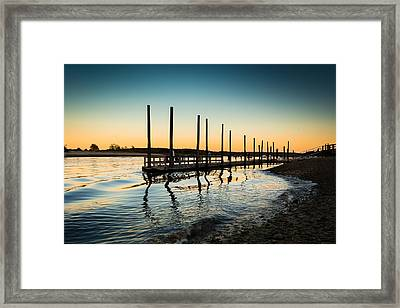 Wavy Sunset Kings Park New York Framed Print