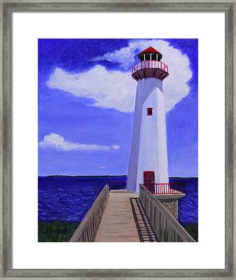 Framed Print featuring the painting Wawatam Lighthouse by Janet Greer Sammons