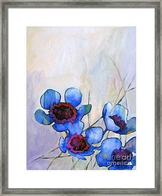 Wax Flowers Blue Framed Print