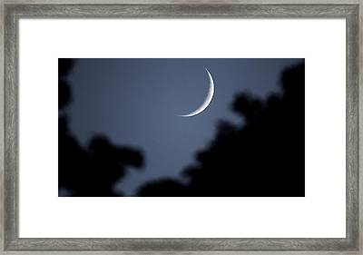Waxing Crescent Moon In The Forest Framed Print by Dan Sproul