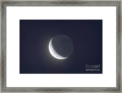 Waxing Crescent Moon With Earthshine Framed Print