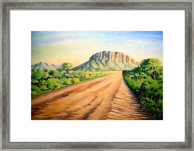 Framed Print featuring the painting Way To Maralal by Anthony Mwangi