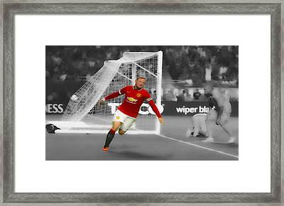 Wayne Rooney Scores Again Framed Print by Brian Reaves