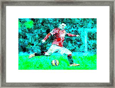 Wayne Rooney Splats Framed Print by Brian Reaves