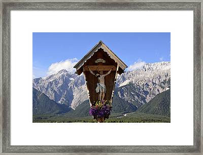Wayside Cross In Alps Framed Print