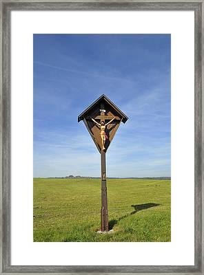 Wayside Crucifix Green Meadow And Blue Sky Framed Print
