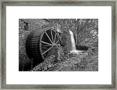 Wayside Inn Grist Mill Black And White Framed Print