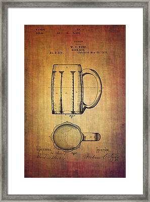 W.c.king Beer Mug Patent From 1876 Framed Print by Eti Reid