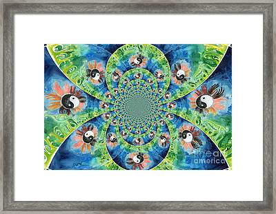We Are All One Race Flower Kaleidoscope Mandela Framed Print by Genevieve Esson
