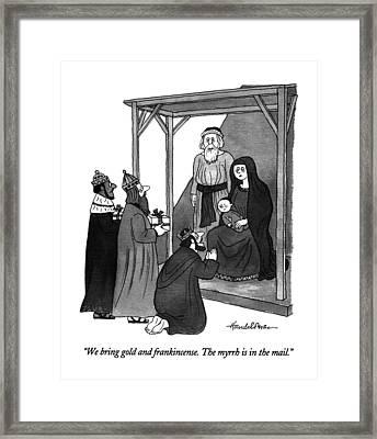 We Bring Gold And Frankincense.  The Myrrh Framed Print by J.B. Handelsman