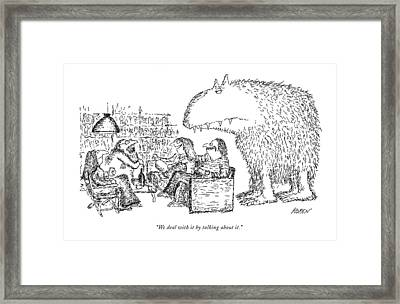 We Deal With It By Talking About It Framed Print by Edward Koren