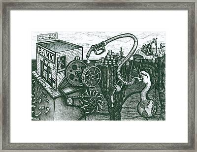 Framed Print featuring the drawing We Have Gas by Richie Montgomery