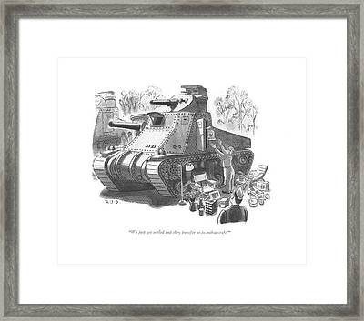 We Just Get Settled And They Transfer Framed Print by Robert J. Day